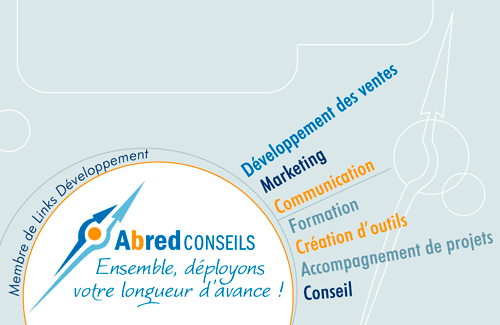 Carte de visite pour Abred, conseil en marketing